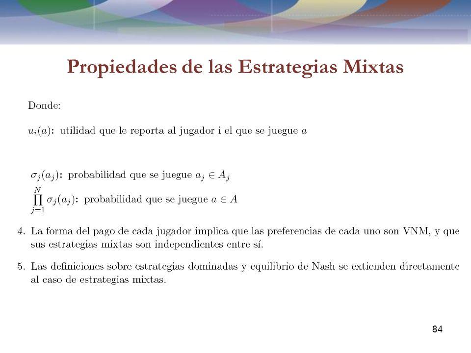 Propiedades de las Estrategias Mixtas 84