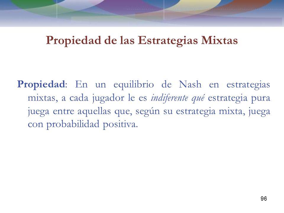 Propiedad de las Estrategias Mixtas Propiedad: En un equilibrio de Nash en estrategias mixtas, a cada jugador le es indiferente qué estrategia pura juega entre aquellas que, según su estrategia mixta, juega con probabilidad positiva.