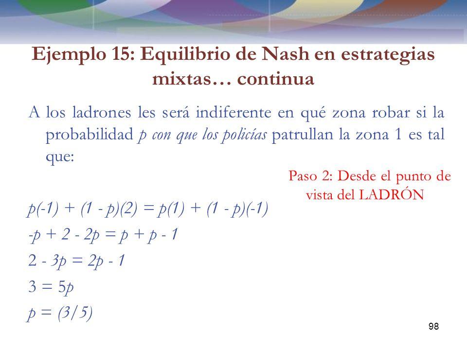 Ejemplo 15: Equilibrio de Nash en estrategias mixtas… continua A los ladrones les será indiferente en qué zona robar si la probabilidad p con que los policías patrullan la zona 1 es tal que: p(-1) + (1 - p)(2) = p(1) + (1 - p)(-1) -p + 2 - 2p = p + p - 1 2 - 3p = 2p - 1 3 = 5p p = (3/5) 98 Paso 2: Desde el punto de vista del LADRÓN