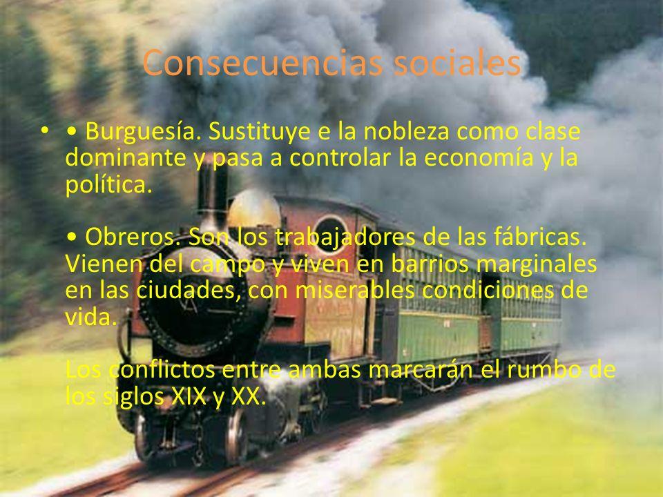 Consecuencias sociales Burguesía. Sustituye e la nobleza como clase dominante y pasa a controlar la economía y la política. Obreros. Son los trabajado