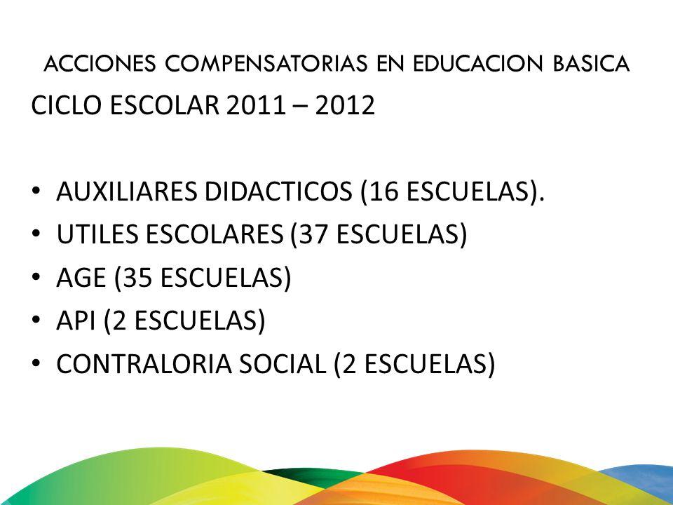 ACCIONES COMPENSATORIAS EN EDUCACION BASICA CICLO ESCOLAR 2011 – 2012 AUXILIARES DIDACTICOS (16 ESCUELAS). UTILES ESCOLARES (37 ESCUELAS) AGE (35 ESCU