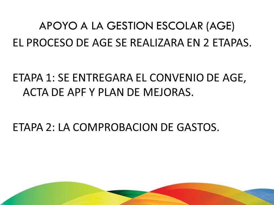 APOYO A LA GESTION ESCOLAR (AGE) EL PROCESO DE AGE SE REALIZARA EN 2 ETAPAS. ETAPA 1: SE ENTREGARA EL CONVENIO DE AGE, ACTA DE APF Y PLAN DE MEJORAS.