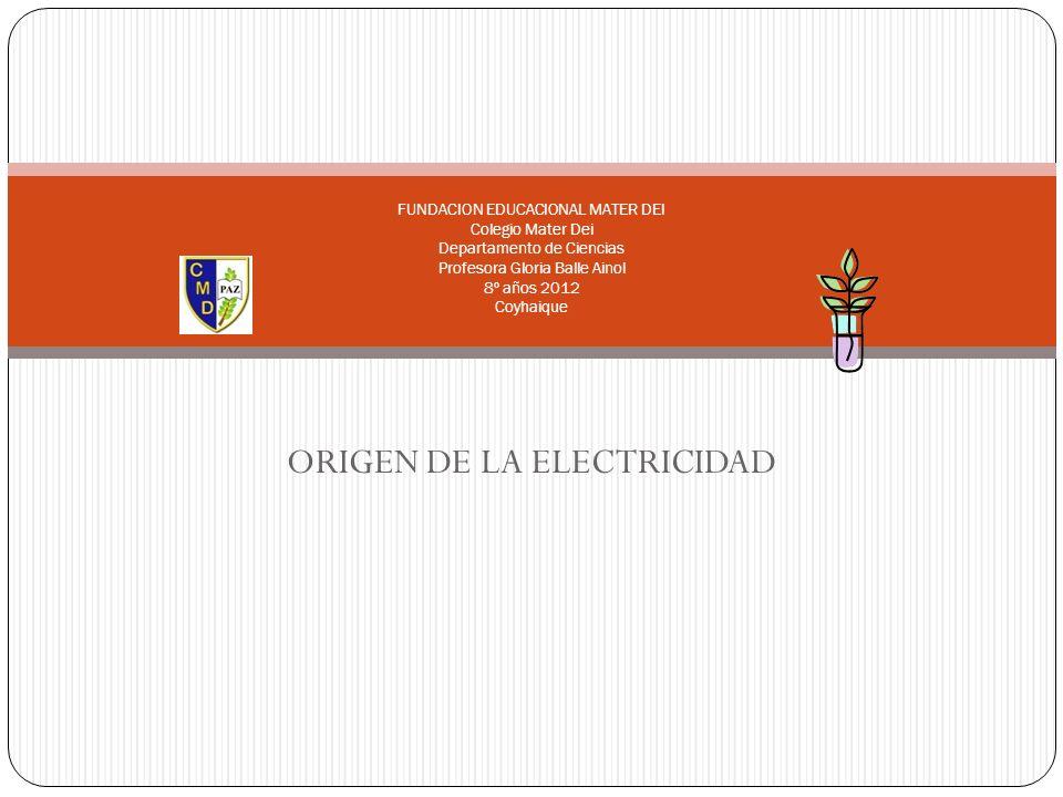 ORIGEN DE LA ELECTRICIDAD FUNDACION EDUCACIONAL MATER DEI Colegio Mater Dei Departamento de Ciencias Profesora Gloria Balle Ainol 8º años 2012 Coyhaiq