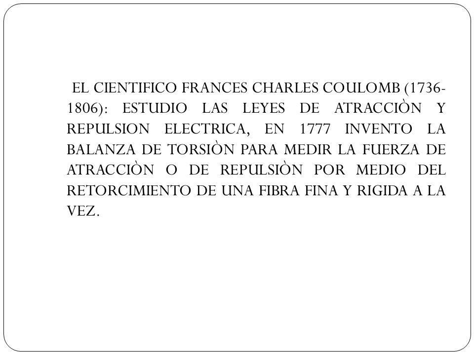 EL CIENTIFICO FRANCES CHARLES COULOMB (1736- 1806): ESTUDIO LAS LEYES DE ATRACCIÒN Y REPULSION ELECTRICA, EN 1777 INVENTO LA BALANZA DE TORSIÒN PARA M