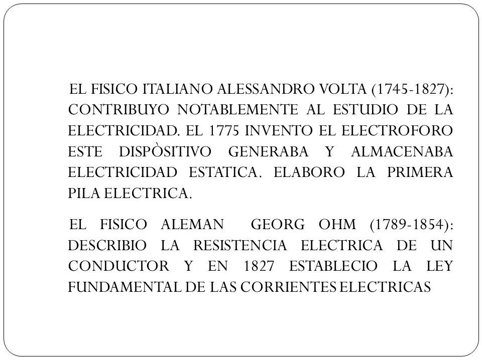 EL FISICO ITALIANO ALESSANDRO VOLTA (1745-1827): CONTRIBUYO NOTABLEMENTE AL ESTUDIO DE LA ELECTRICIDAD. EL 1775 INVENTO EL ELECTROFORO ESTE DISPÒSITIV
