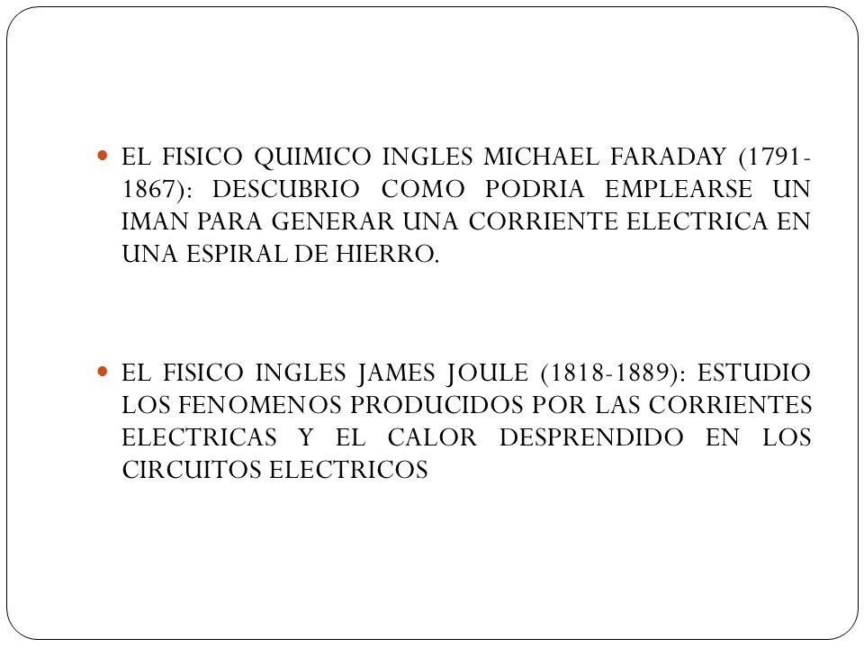 EL FISICO QUIMICO INGLES MICHAEL FARADAY (1791- 1867): DESCUBRIO COMO PODRIA EMPLEARSE UN IMAN PARA GENERAR UNA CORRIENTE ELECTRICA EN UNA ESPIRAL DE