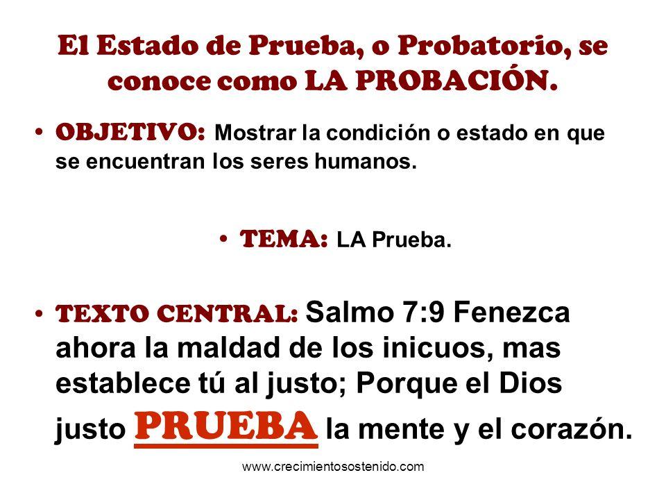 El Estado de Prueba, o Probatorio, se conoce como LA PROBACIÓN. OBJETIVO: Mostrar la condición o estado en que se encuentran los seres humanos. TEMA: