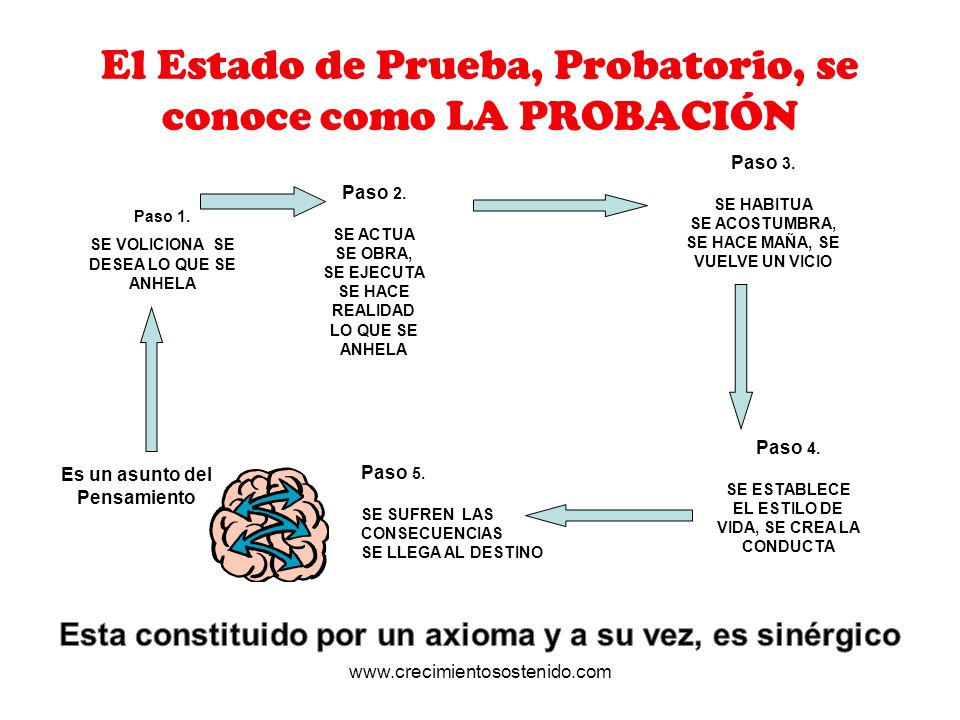 El Estado de Prueba, Probatorio, se conoce como LA PROBACIÓN Paso 1. SE VOLICIONA SE DESEA LO QUE SE ANHELA Paso 2. SE ACTUA SE OBRA, SE EJECUTA SE HA