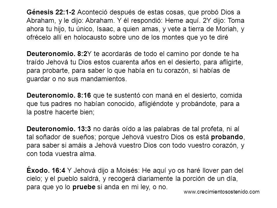 Génesis 22:1-2 Aconteció después de estas cosas, que probó Dios a Abraham, y le dijo: Abraham. Y él respondió: Heme aquí. 2Y dijo: Toma ahora tu hijo,