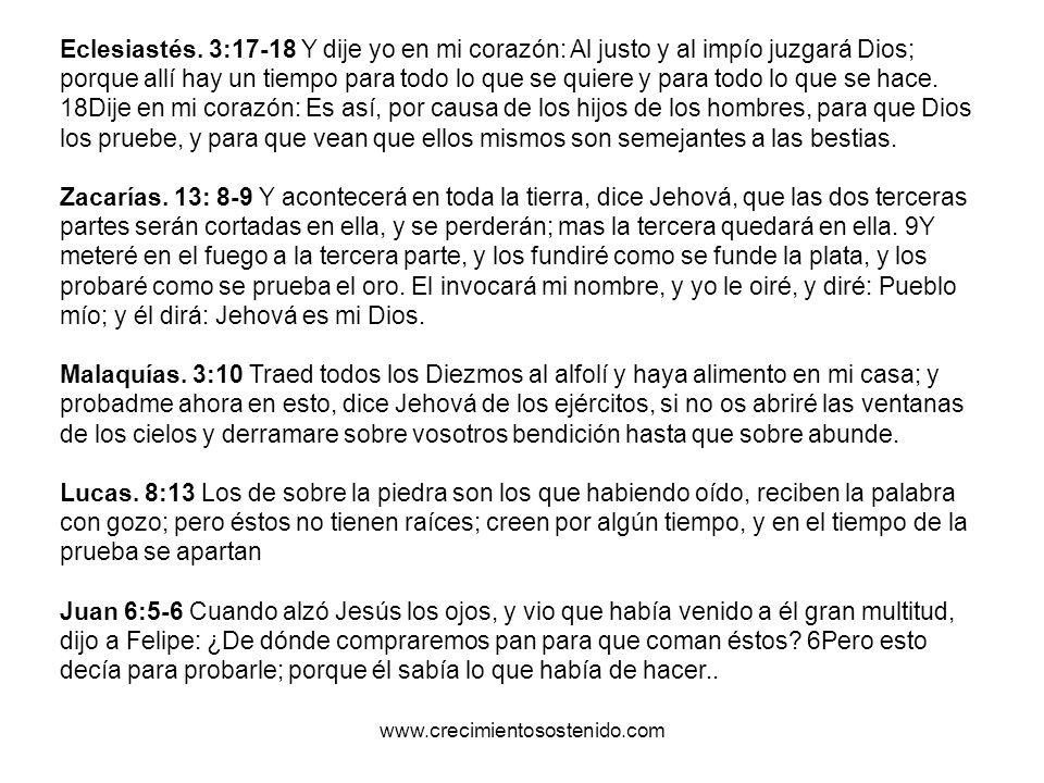 Eclesiastés. 3:17-18 Y dije yo en mi corazón: Al justo y al impío juzgará Dios; porque allí hay un tiempo para todo lo que se quiere y para todo lo qu