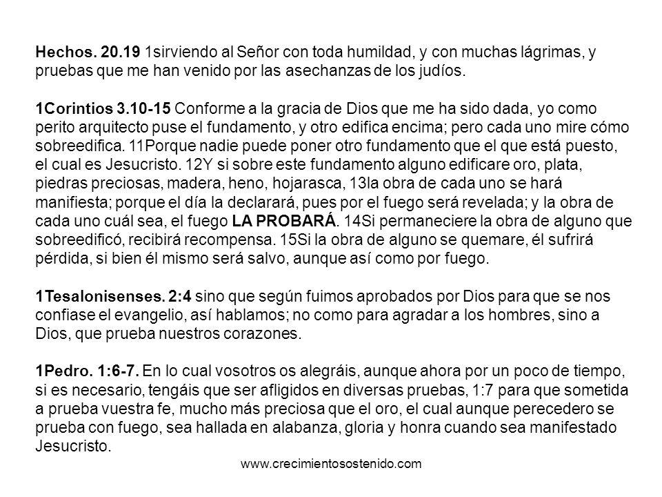 Hechos. 20.19 1sirviendo al Señor con toda humildad, y con muchas lágrimas, y pruebas que me han venido por las asechanzas de los judíos. 1Corintios 3