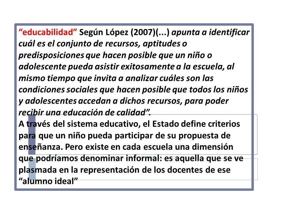 educabilidad Según López (2007)(...) apunta a identificar cuál es el conjunto de recursos, aptitudes o predisposiciones que hacen posible que un niño