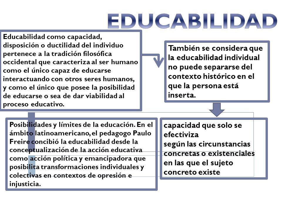 Educabilidad como capacidad, disposición o ductilidad del individuo pertenece a la tradición filosófica occidental que caracteriza al ser humano como