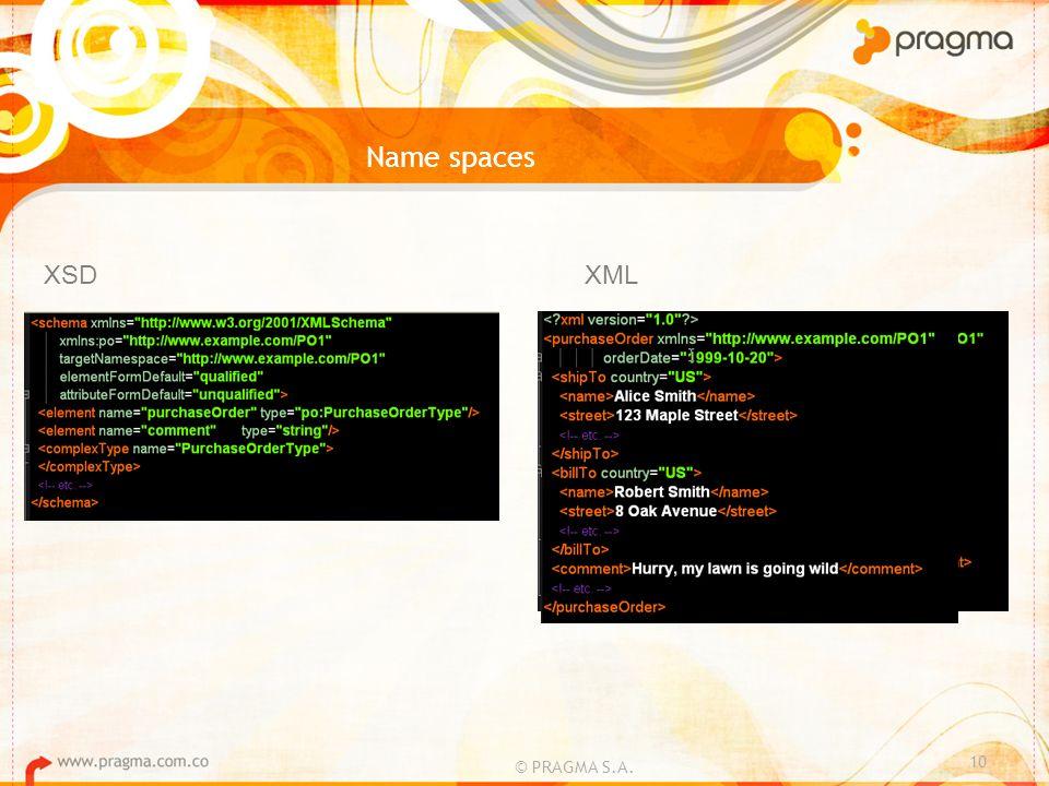 Name spaces © PRAGMA S.A. 10 XSDXML