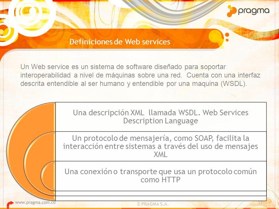Definiciones de Web services © PRAGMA S.A. 11 Un Web service es un sistema de software diseñado para soportar interoperabilidad a nivel de máquinas so