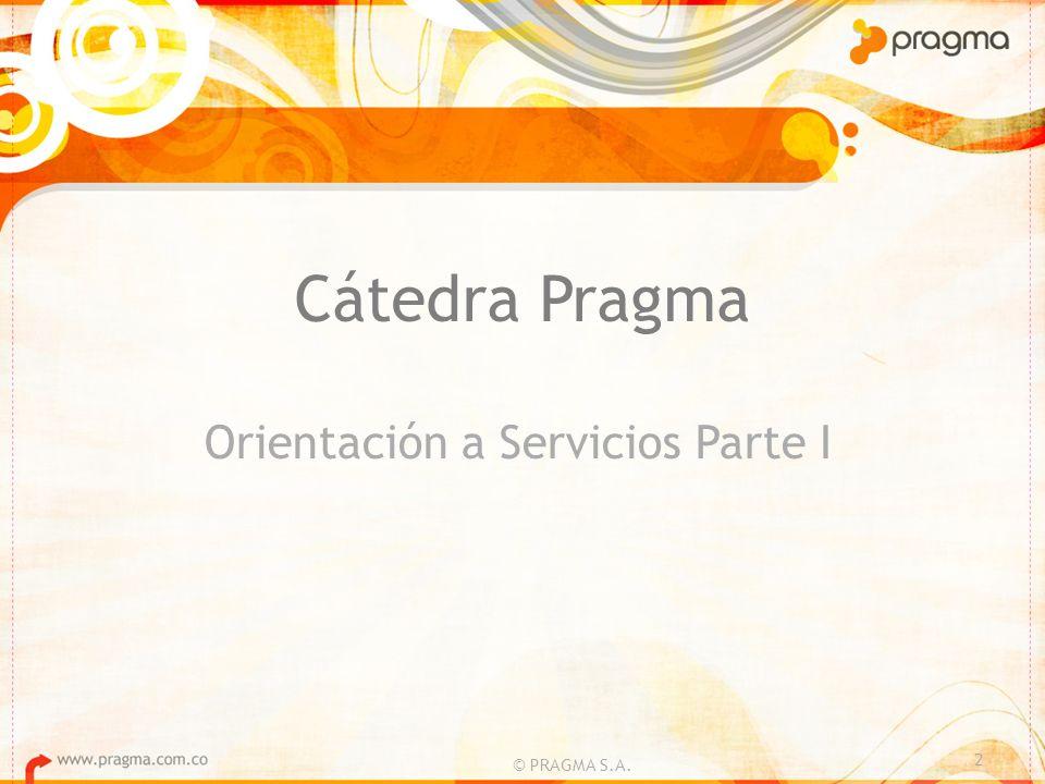 Cátedra Pragma Orientación a Servicios Parte I 2 © PRAGMA S.A.