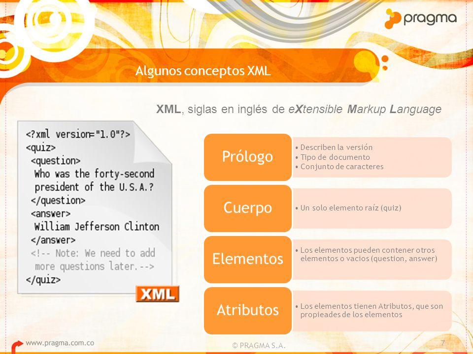 Algunos conceptos XML © PRAGMA S.A. 7 XML, siglas en inglés de eXtensible Markup Language Describen la versión Tipo de documento Conjunto de caractere