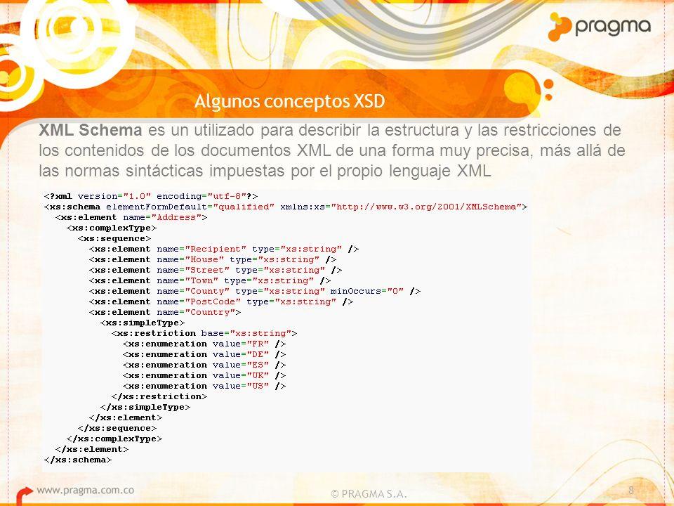 Algunos conceptos XSD © PRAGMA S.A. 8 XML Schema es un utilizado para describir la estructura y las restricciones de los contenidos de los documentos