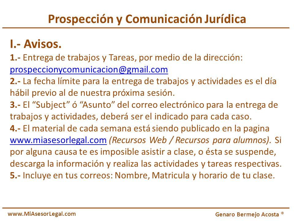 Prospección y Comunicación Jurídica I.- Avisos.