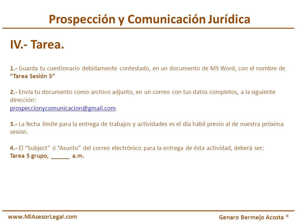 Prospección y Comunicación Jurídica IV.- Tarea.