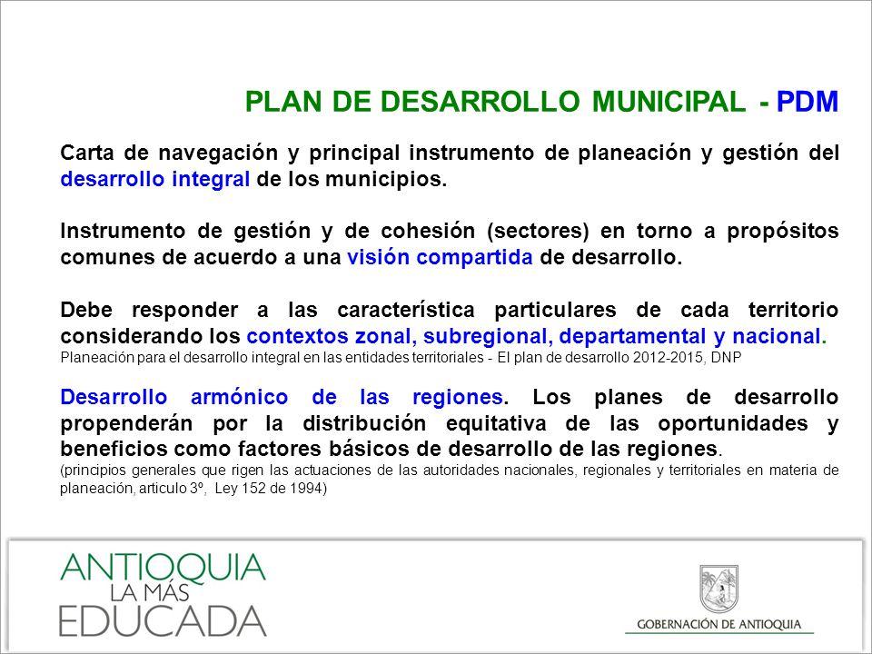 PLAN DE DESARROLLO MUNICIPAL – PDM En los municipios la planeación del desarrollo social y económico (PDM) no se puede desarticular del desarrollo físico del territorio y la utilización del suelo (POT).