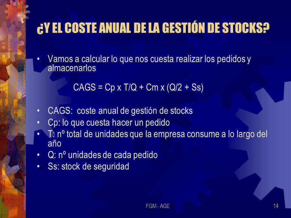 FGM - AGE14 ¿Y EL COSTE ANUAL DE LA GESTIÓN DE STOCKS? Vamos a calcular lo que nos cuesta realizar los pedidos y almacenarlos CAGS = Cp x T/Q + Cm x (