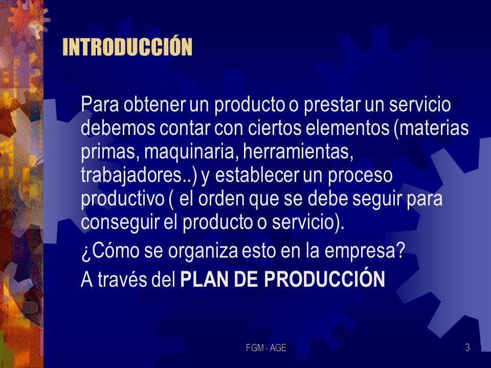FGM - AGE3 INTRODUCCIÓN Para obtener un producto o prestar un servicio debemos contar con ciertos elementos (materias primas, maquinaria, herramientas