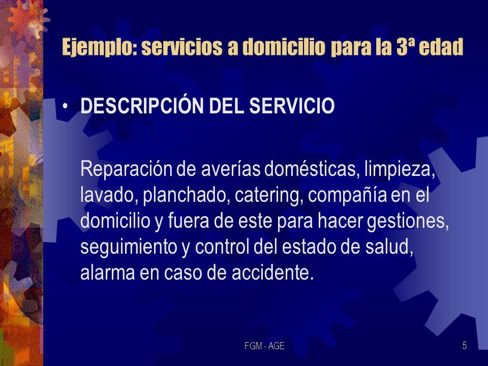 FGM - AGE5 Ejemplo: servicios a domicilio para la 3ª edad DESCRIPCIÓN DEL SERVICIO Reparación de averías domésticas, limpieza, lavado, planchado, cate