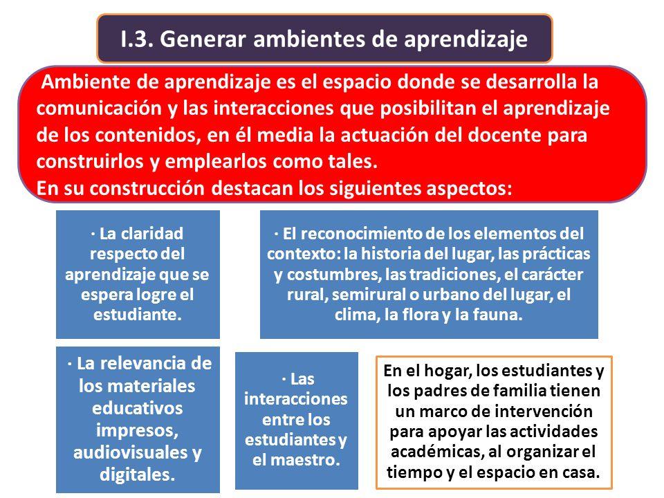 I.3. Generar ambientes de aprendizaje Ambiente de aprendizaje es el espacio donde se desarrolla la comunicación y las interacciones que posibilitan el