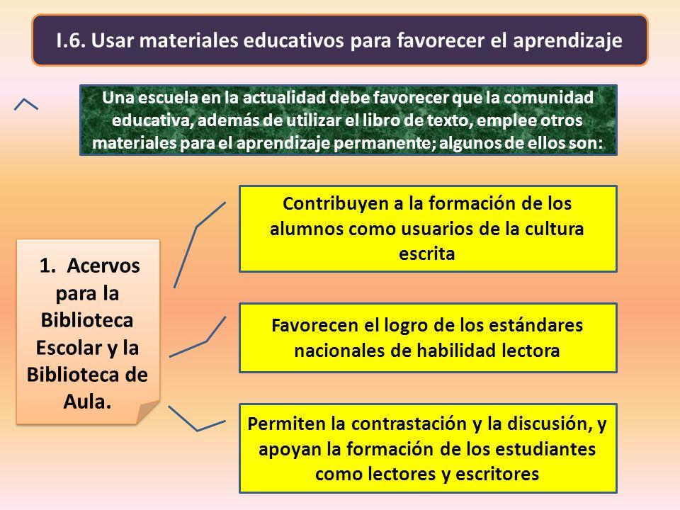 I.6. Usar materiales educativos para favorecer el aprendizaje Favorecen el logro de los estándares nacionales de habilidad lectora 1. Acervos para la