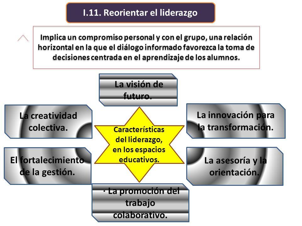 I.11. Reorientar el liderazgo Implica un compromiso personal y con el grupo, una relación horizontal en la que el diálogo informado favorezca la toma