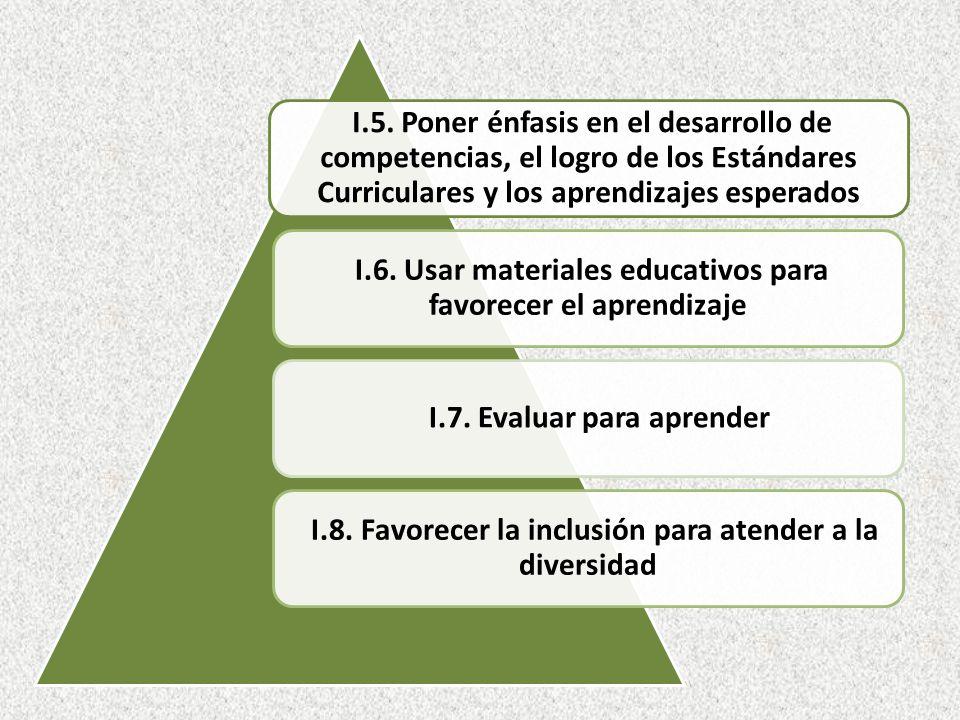 I.5. Poner énfasis en el desarrollo de competencias, el logro de los Estándares Curriculares y los aprendizajes esperados I.6. Usar materiales educati