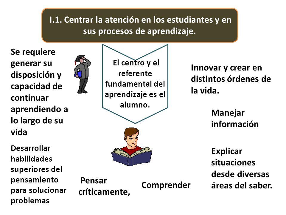 I.1. Centrar la atención en los estudiantes y en sus procesos de aprendizaje. El centro y el referente fundamental del aprendizaje es el alumno. Innov