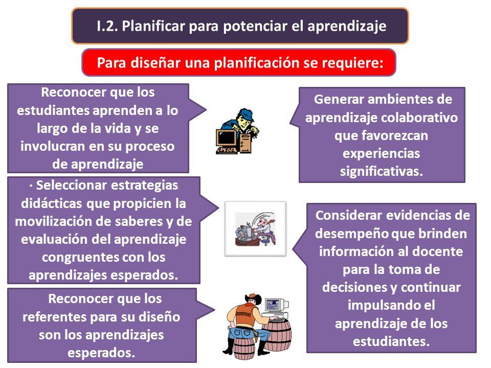 I.2. Planificar para potenciar el aprendizaje Para diseñar una planificación se requiere: · Seleccionar estrategias didácticas que propicien la movili