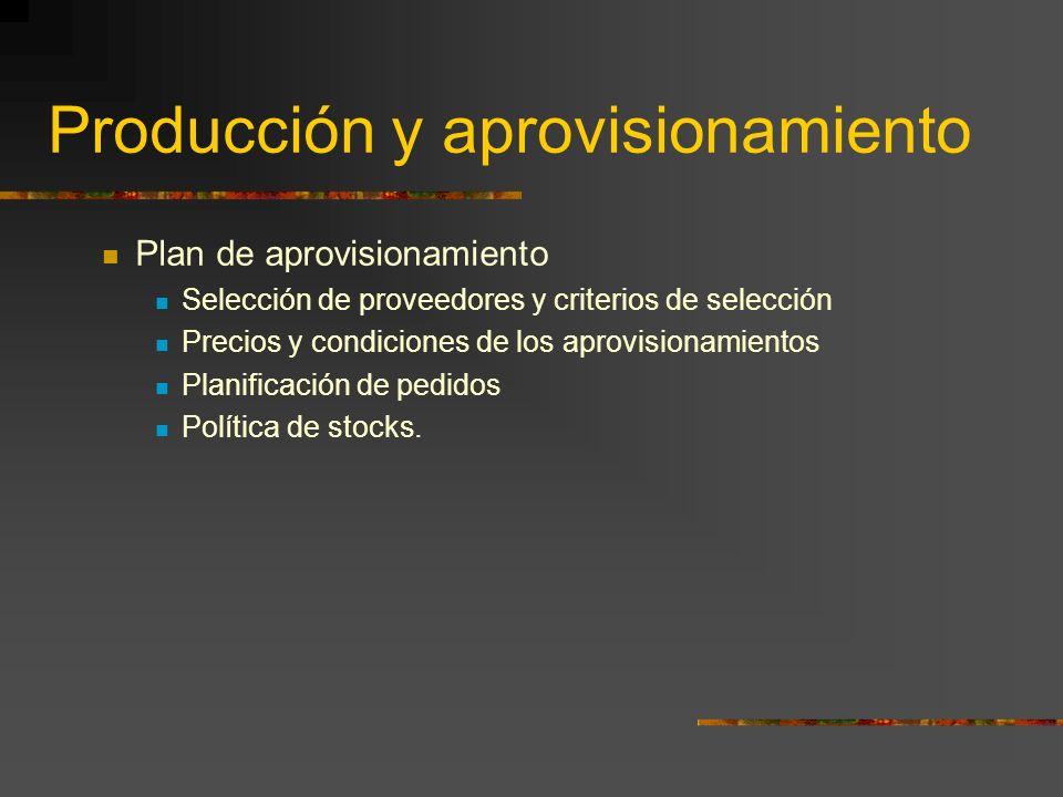 Producción y aprovisionamiento Plan de aprovisionamiento Selección de proveedores y criterios de selección Precios y condiciones de los aprovisionamie