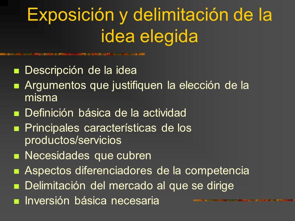 Exposición y delimitación de la idea elegida Descripción de la idea Argumentos que justifiquen la elección de la misma Definición básica de la activid