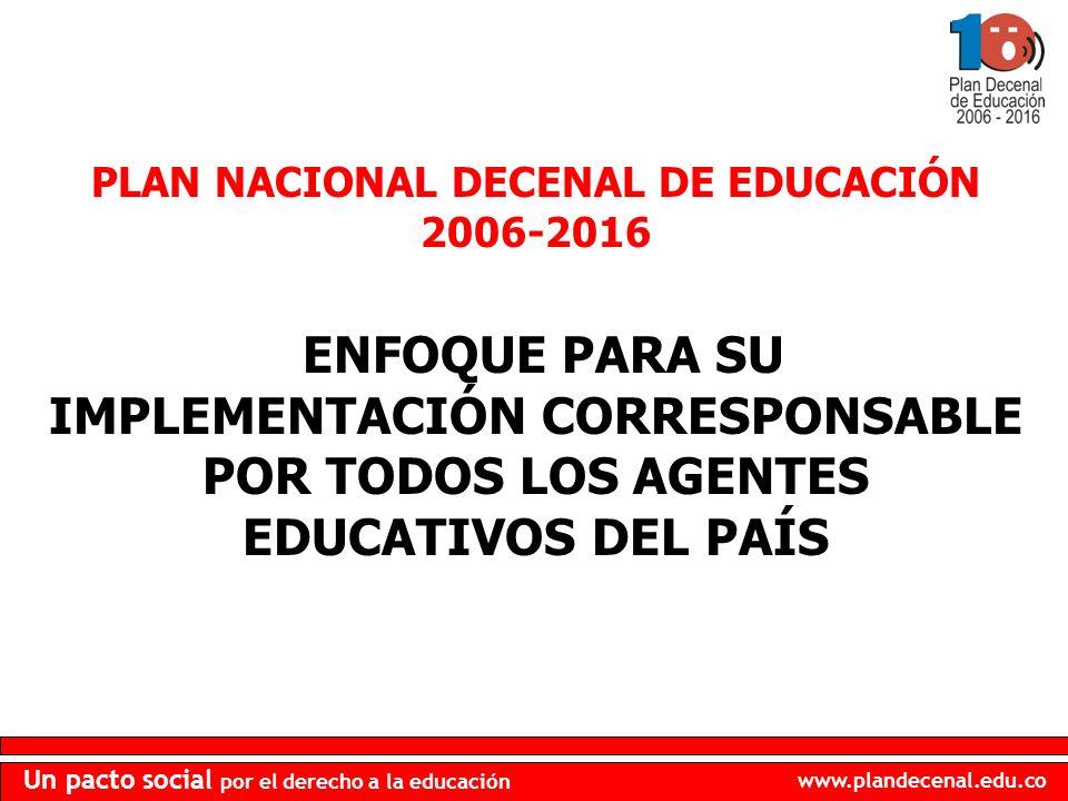 www.plandecenal.edu.co Un pacto social por el derecho a la educación PLAN NACIONAL DECENAL DE EDUCACIÓN 2006-2016 ENFOQUE PARA SU IMPLEMENTACIÓN CORRESPONSABLE POR TODOS LOS AGENTES EDUCATIVOS DEL PAÍS