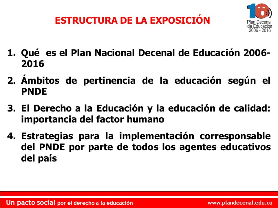 www.plandecenal.edu.co Un pacto social por el derecho a la educación 1.Qué es el Plan Nacional Decenal de Educación 2006- 2016 2.Ámbitos de pertinencia de la educación según el PNDE 3.El Derecho a la Educación y la educación de calidad: importancia del factor humano 4.Estrategias para la implementación corresponsable del PNDE por parte de todos los agentes educativos del país ESTRUCTURA DE LA EXPOSICIÓN
