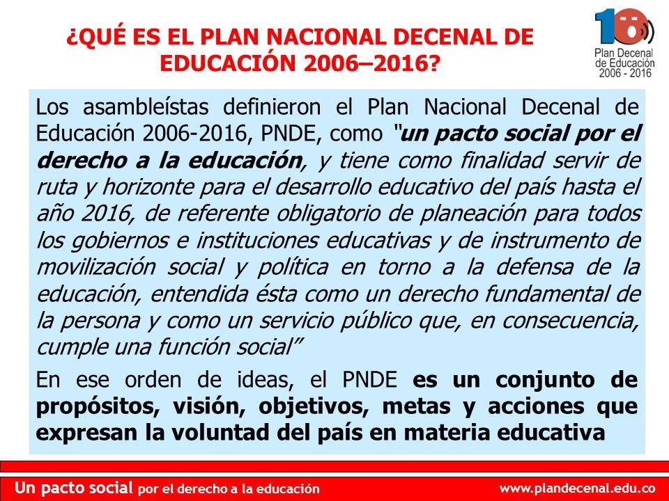 www.plandecenal.edu.co Un pacto social por el derecho a la educación Según la Ley General de Educación, el PNDE tiene carácter indicativo.