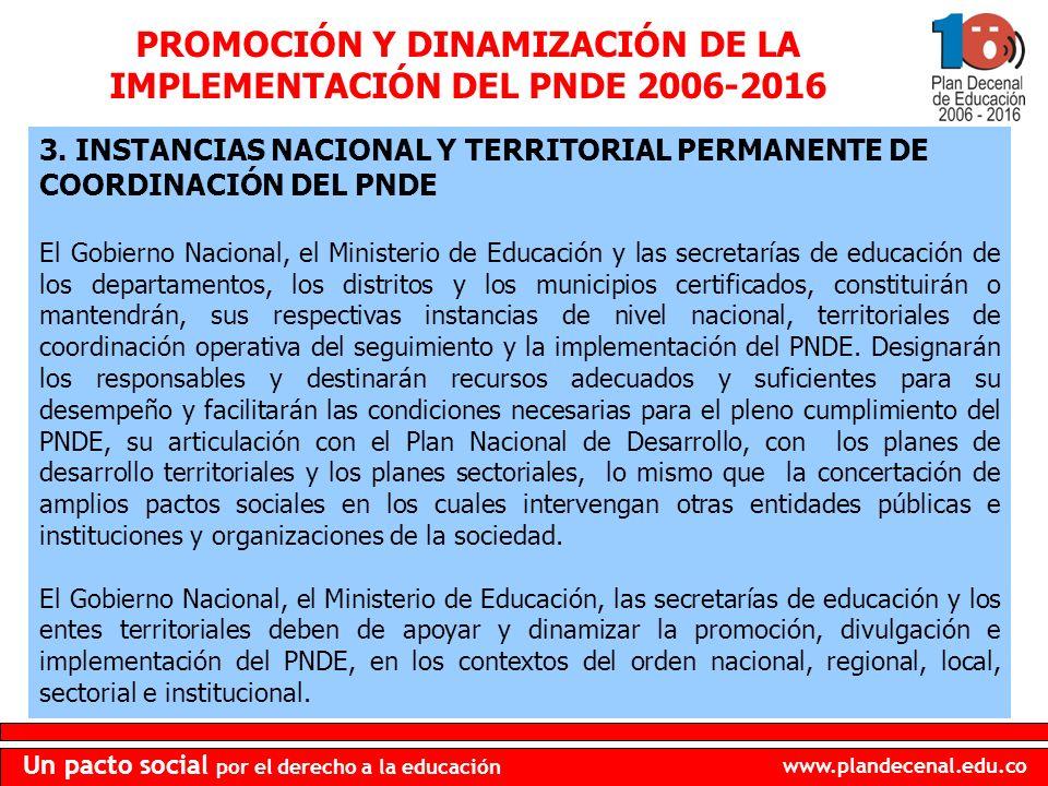 www.plandecenal.edu.co Un pacto social por el derecho a la educación PROMOCIÓN Y DINAMIZACIÓN DE LA IMPLEMENTACIÓN DEL PNDE 2006-2016 2.1.