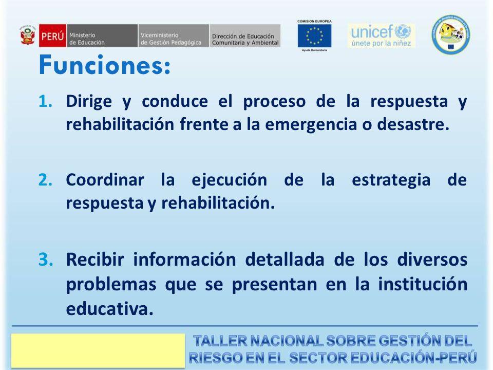 Funciones: 1.Dirige y conduce el proceso de la respuesta y rehabilitación frente a la emergencia o desastre.