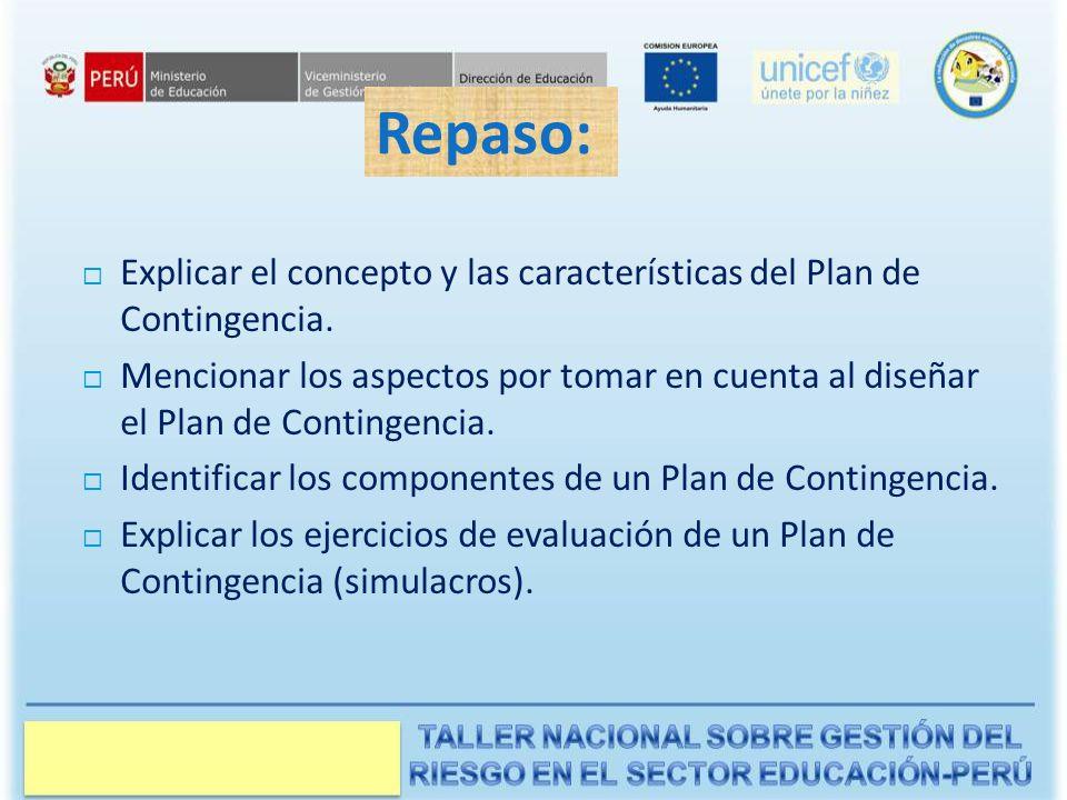 Repaso: Explicar el concepto y las características del Plan de Contingencia.