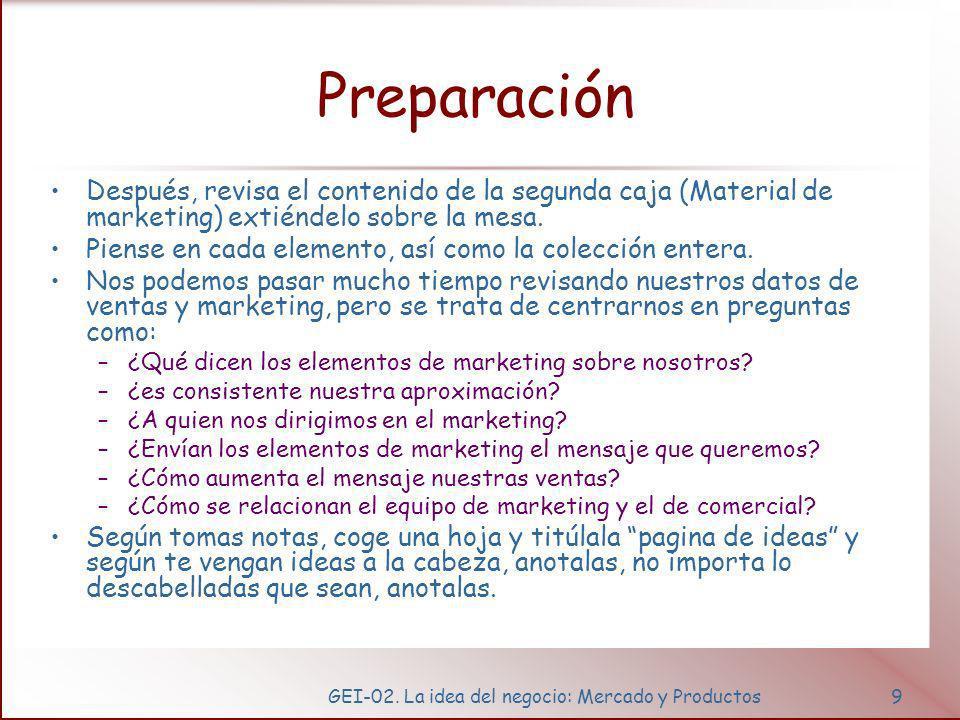 GEI-02. La idea del negocio: Mercado y Productos9 Preparación Después, revisa el contenido de la segunda caja (Material de marketing) extiéndelo sobre