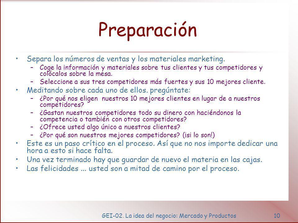 GEI-02. La idea del negocio: Mercado y Productos10 Preparación Separa los números de ventas y los materiales marketing. –Coge la información y materia