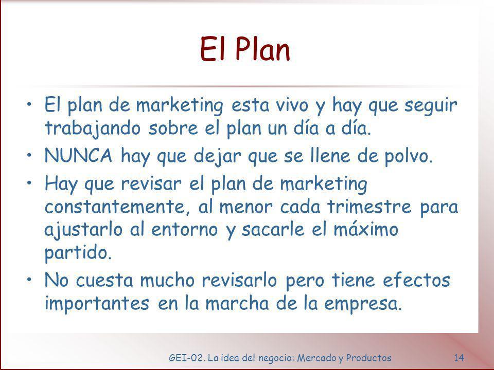 GEI-02. La idea del negocio: Mercado y Productos14 El Plan El plan de marketing esta vivo y hay que seguir trabajando sobre el plan un día a día. NUNC