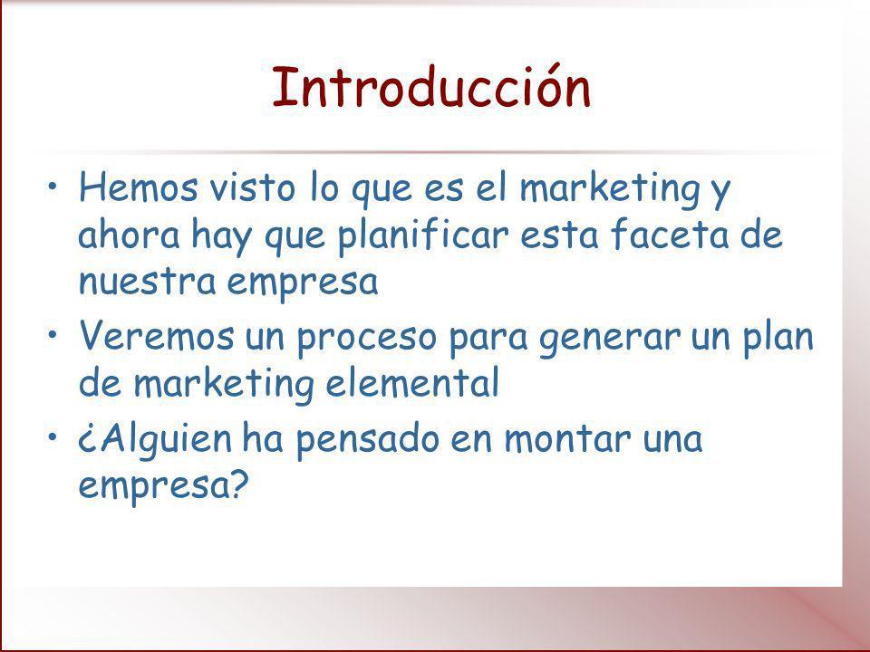 Introducción Hemos visto lo que es el marketing y ahora hay que planificar esta faceta de nuestra empresa Veremos un proceso para generar un plan de m