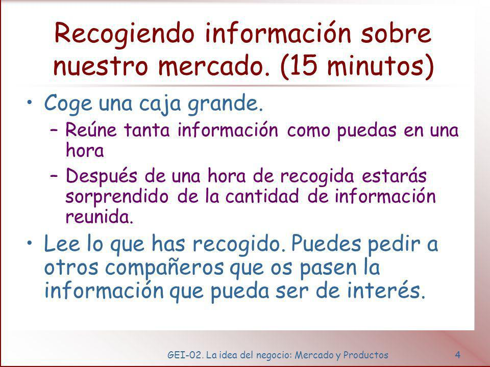 GEI-02.La idea del negocio: Mercado y Productos5 Recogiendo información sobre nuestro mercado.
