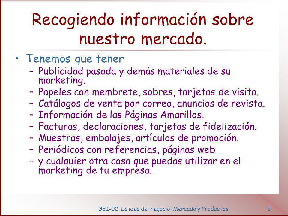 GEI-02.La idea del negocio: Mercado y Productos6 Recogiendo información sobre nuestro mercado.