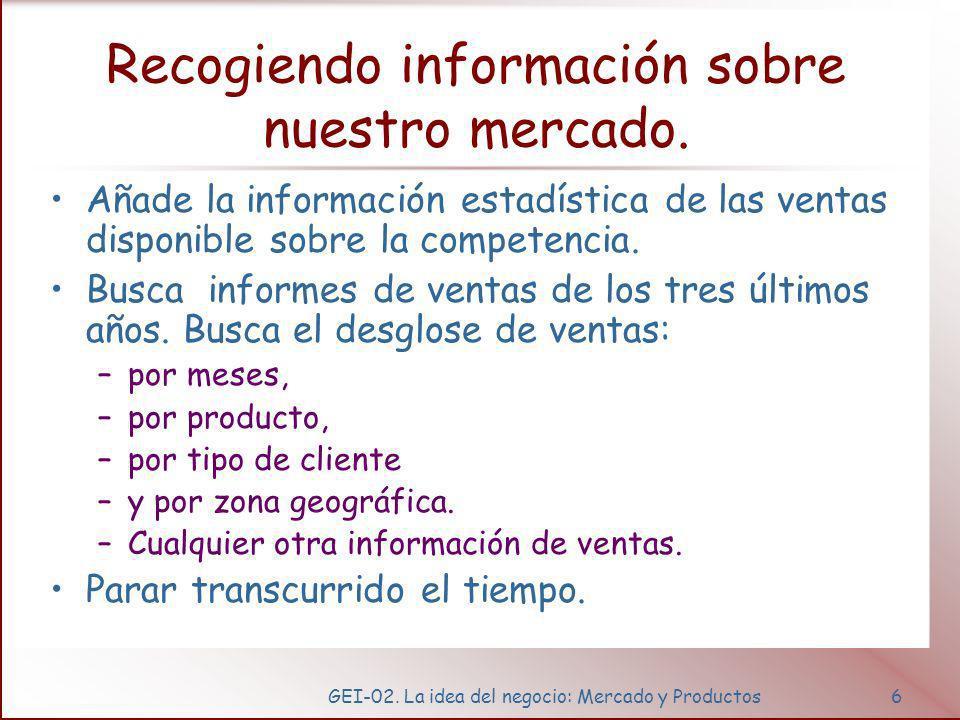 GEI-02. La idea del negocio: Mercado y Productos6 Recogiendo información sobre nuestro mercado. Añade la información estadística de las ventas disponi