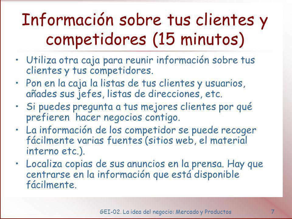 GEI-02. La idea del negocio: Mercado y Productos7 Información sobre tus clientes y competidores (15 minutos) Utiliza otra caja para reunir información